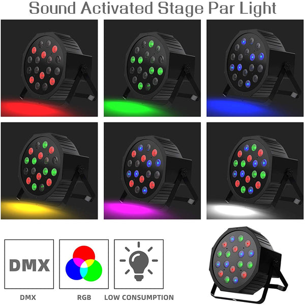 Nurxiovo DJ Par Lights 18 LED Uplighting RGB Lights for Events Stage