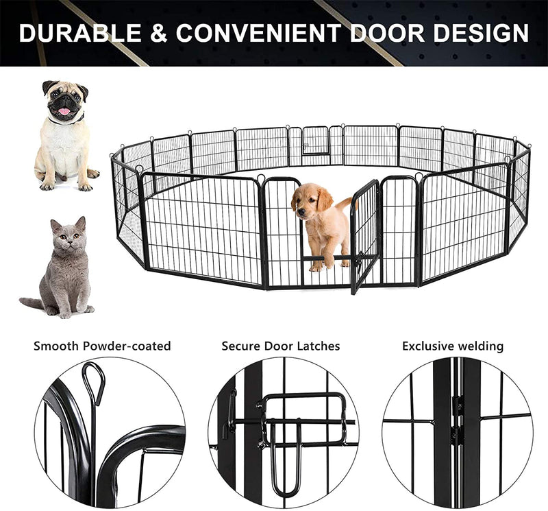 Nurxiovo Heavy Duty Folding Large Metal Dog Fence, Pet Exercise Playpen sale