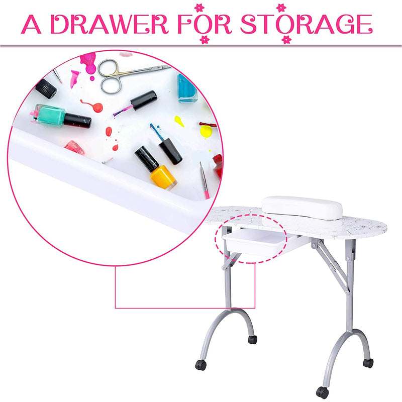 "Nail Table- Nurxiovo Portable Folding Station Desk Movable Tech Table,4 Lockable Wheels, Carrying Bag 35.4""15.7""26.8"""