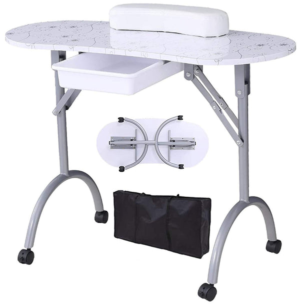 Manicure Table -Nurxiovo Station Folding Portable Nail Table  with Controllable Wheels,Wrist Cushion,Large Drawer White Pattern Design
