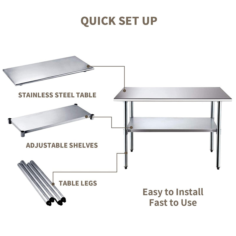 Nurxiovo 48 x 24 Inches Work Table Kitchen Prep Workbench Stainless