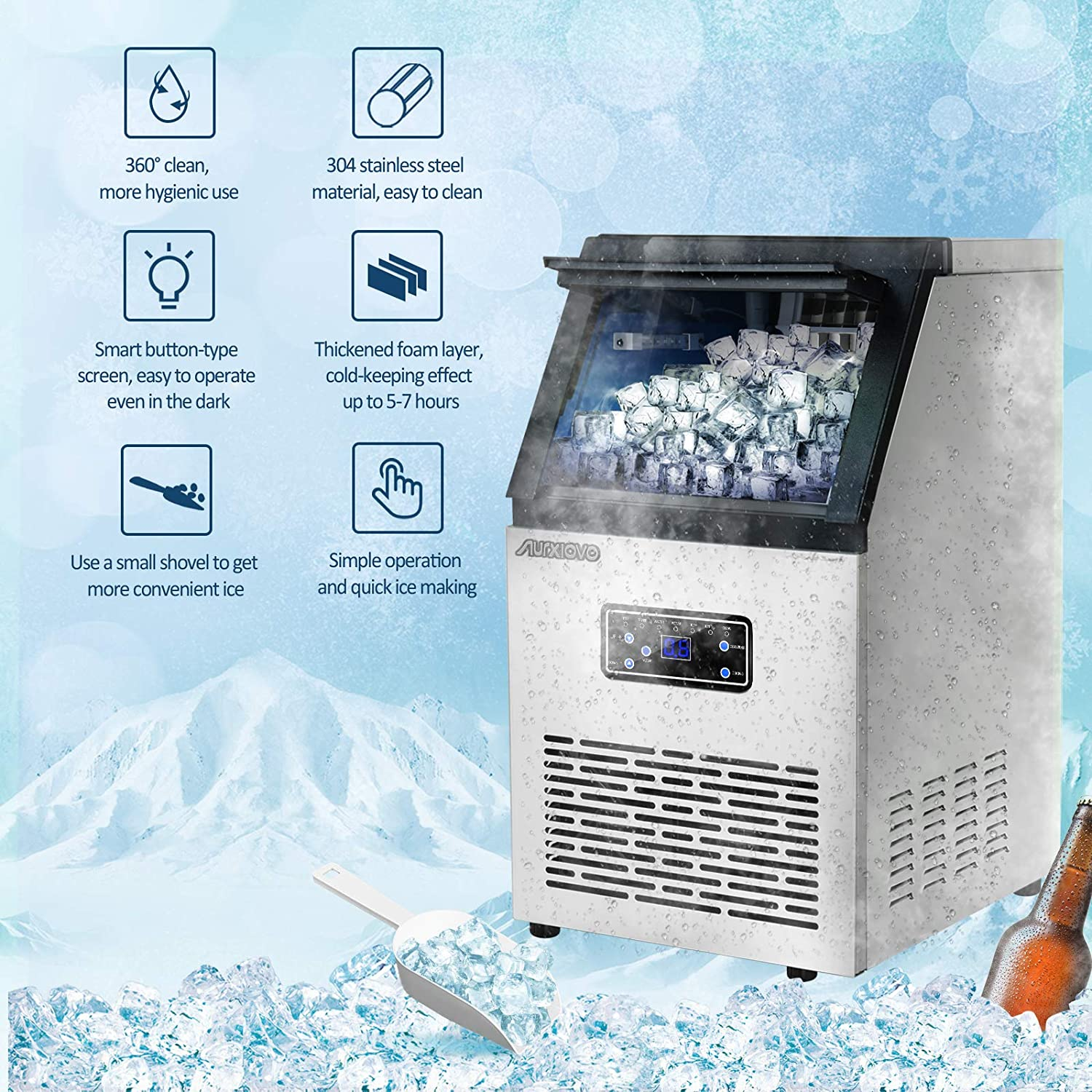 Nurxiovo Commercial Ice Machine Maker, 110LBS/24H Ice Cube Machine