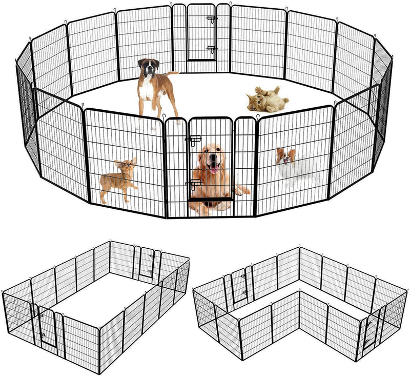 NURXIOVO Dog Pen, 8/16 Panels 40 in Heavy Duty Folding Large Metal Dog Fence,Indoor Outdoor Anti-Rust Pet Crate Cage Barrier Kennels