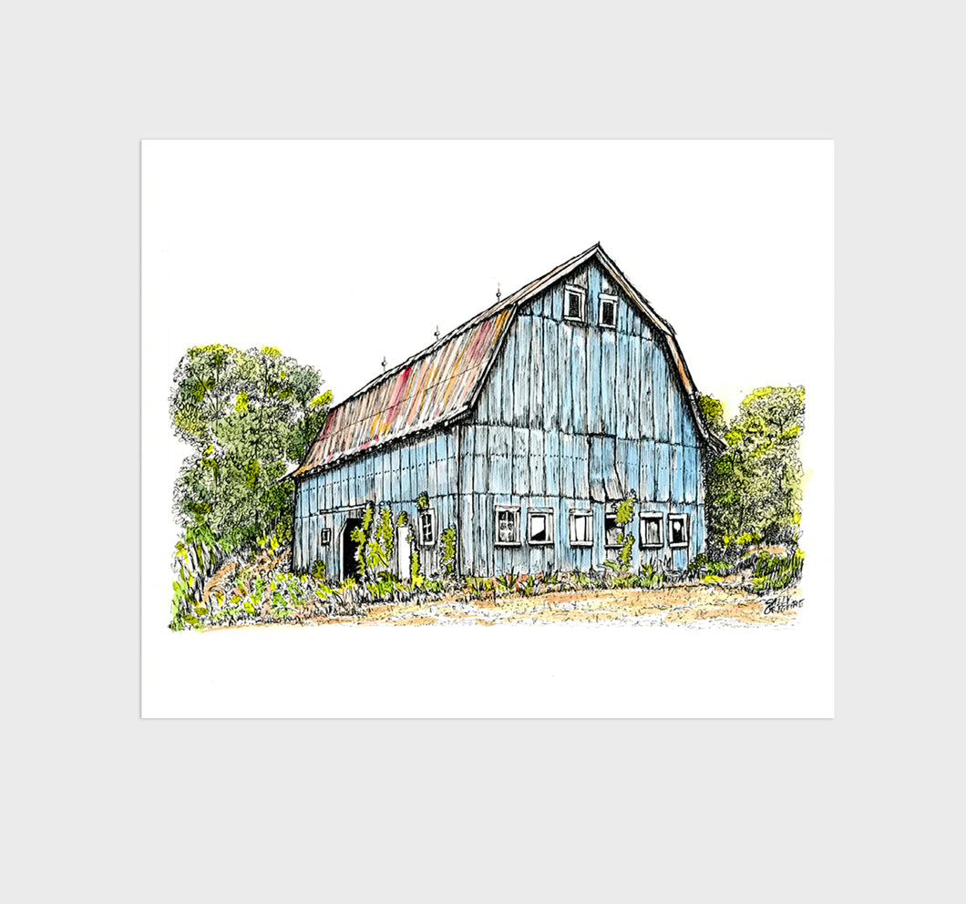 Blue Farm Barn Watercolor, Pen & Ink Giclee Art Print, 8x10 inches