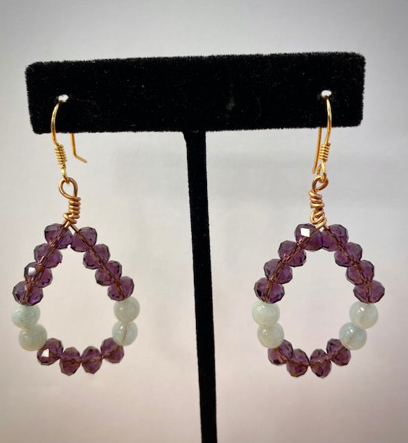 Purple crystal and Aquamarine Hoop Earrings