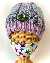 "Load image into Gallery viewer, ""Mask Friendly"" Knit Watch Hat -Green and Lavender - Small/Medium"