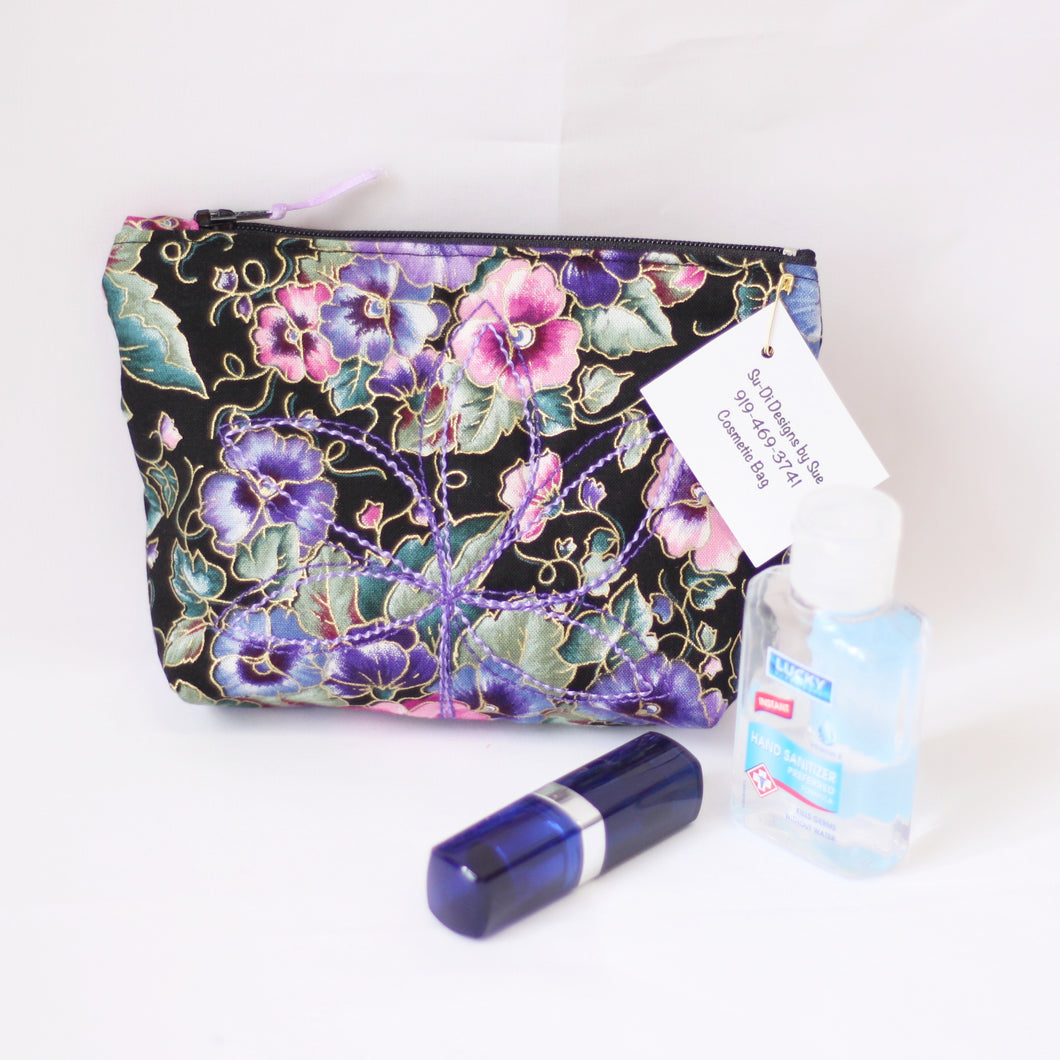 Zippered Fabric Cosmetic Bag