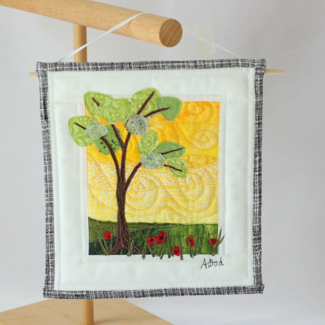 Tree with Flowers Small Art Quilt