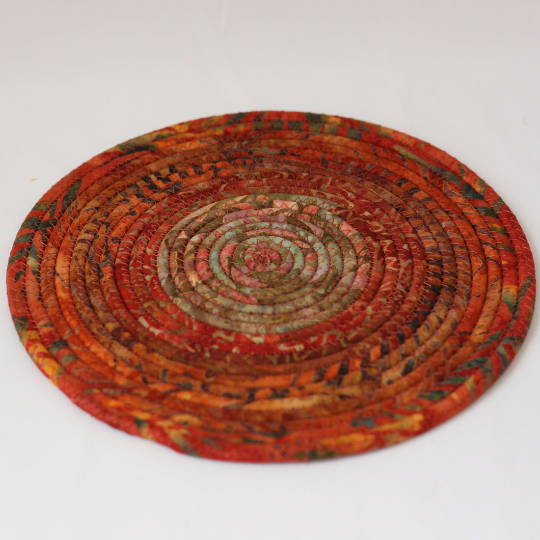 Batik Fabric Coiled Trivet