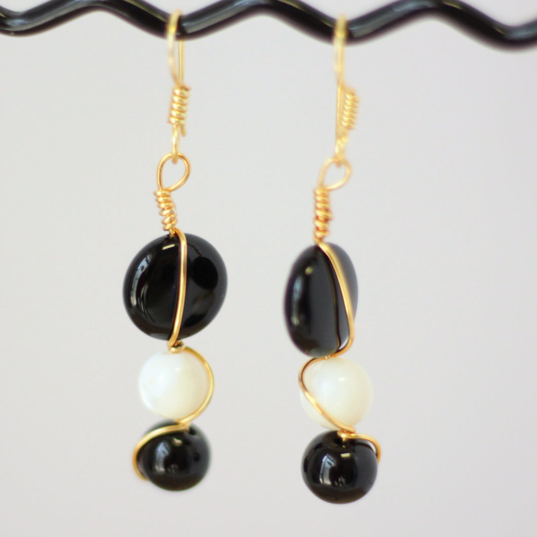 Onyx and Shell Pierced Earrings