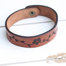 Load image into Gallery viewer, Engraved Leather Bracelet - Flowers and Vine Pattern