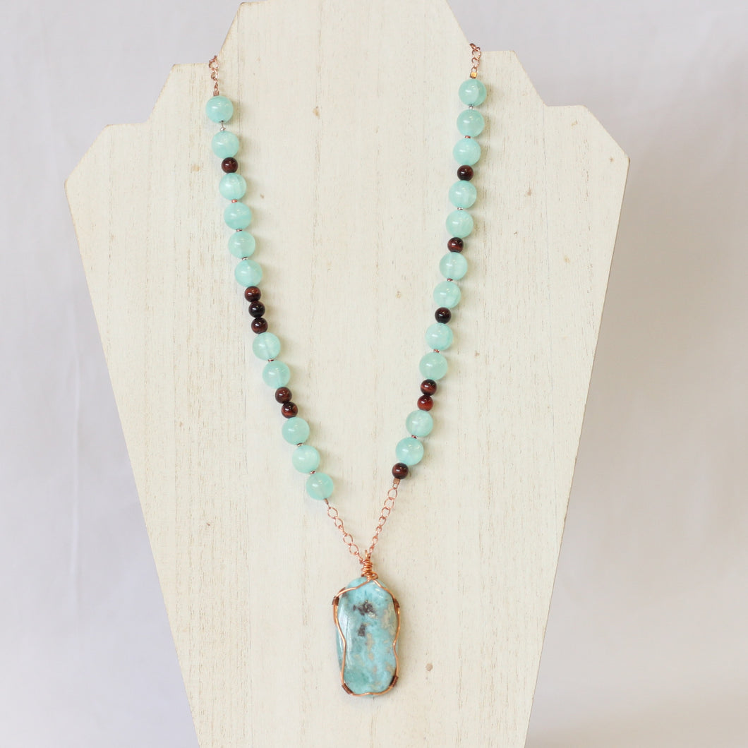 Copper Wire wrapped Larimar Statement Necklace