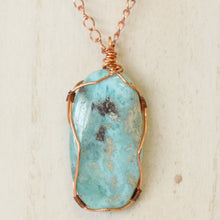Load image into Gallery viewer, Copper Wire wrapped Larimar Statement Necklace