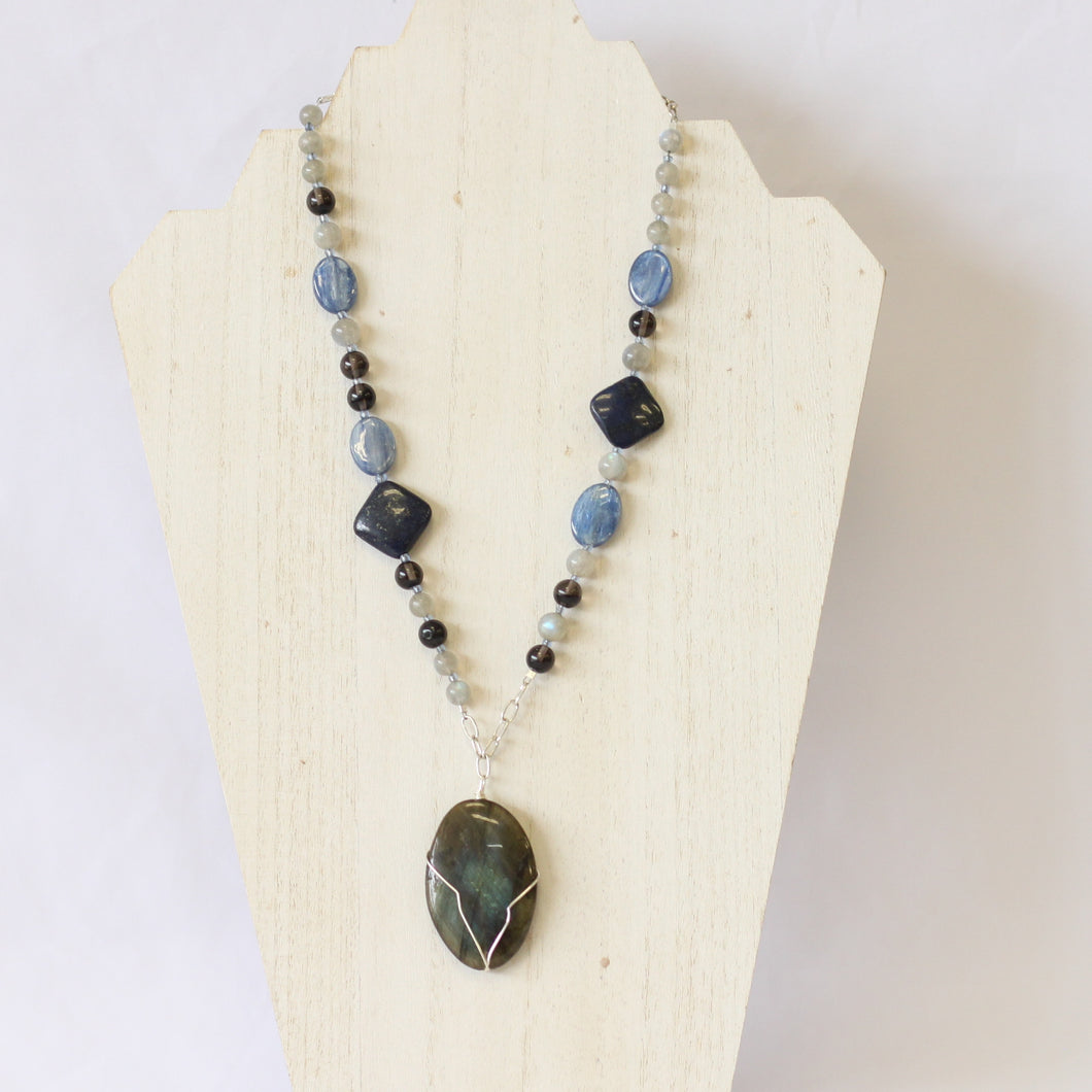 Silver Wire Wrapped Labradorite Statement Necklace