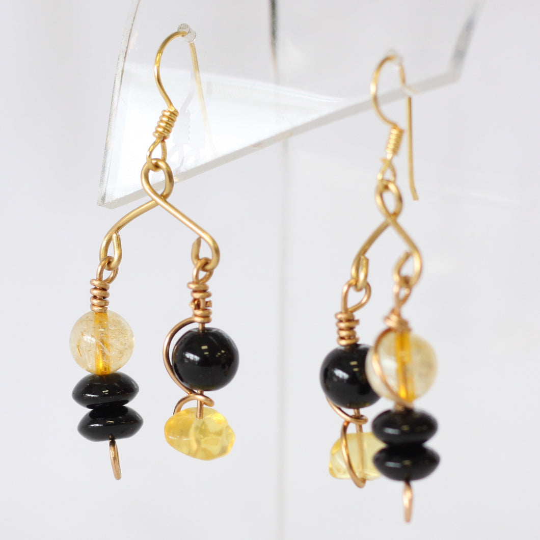 Citrine and Onyx Mobile Pierced Earrings
