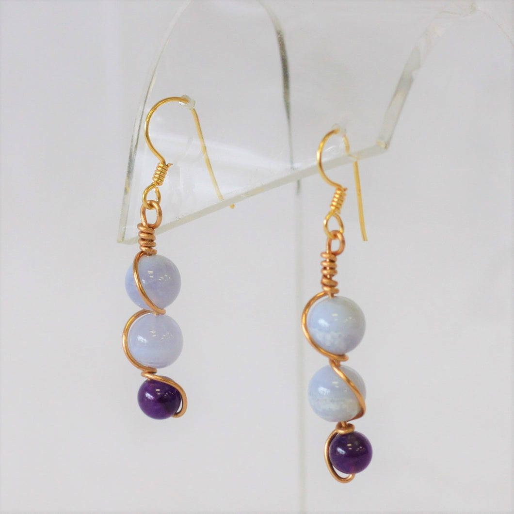 Blue Lace Agate and Amethyst Pierced Earrings