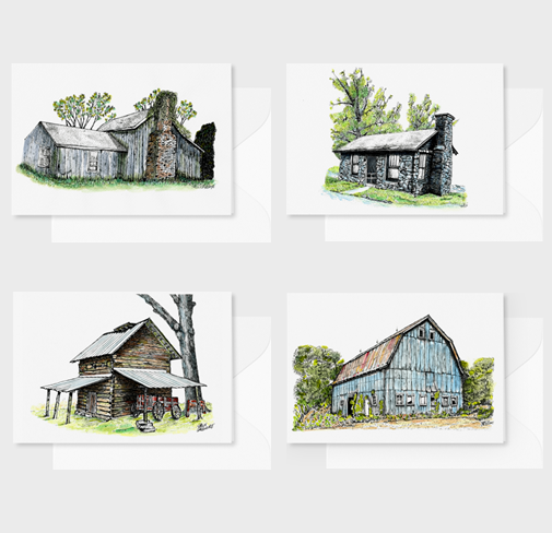 North Carolina Farm Barn Note Cards Watercolor Pen and Ink Gift Box