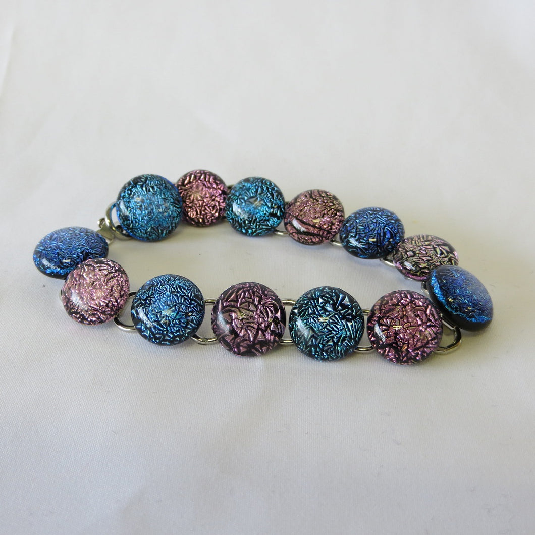 Glass Cabochon Bracelet - Blue and Pink