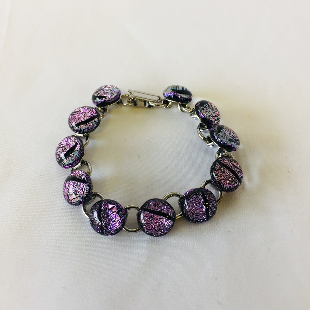 Glass Cabochon Bracelet - Purple