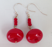Load image into Gallery viewer, Red Bold Earrings