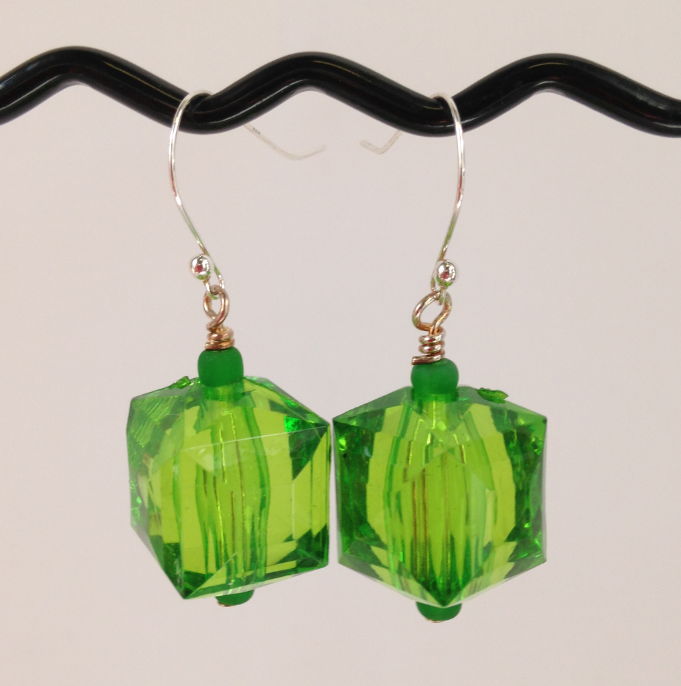 Green Acrylic Earrings