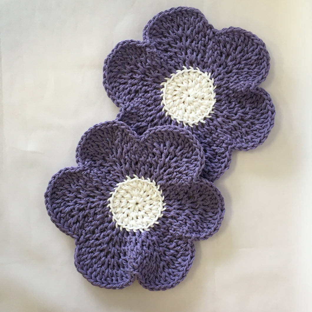 Crocheted Dishcloths - Set of 2 in Cotton and Cotton/Poly blend