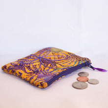 Load image into Gallery viewer, Sunflowers on Purple Batik Coin Purse