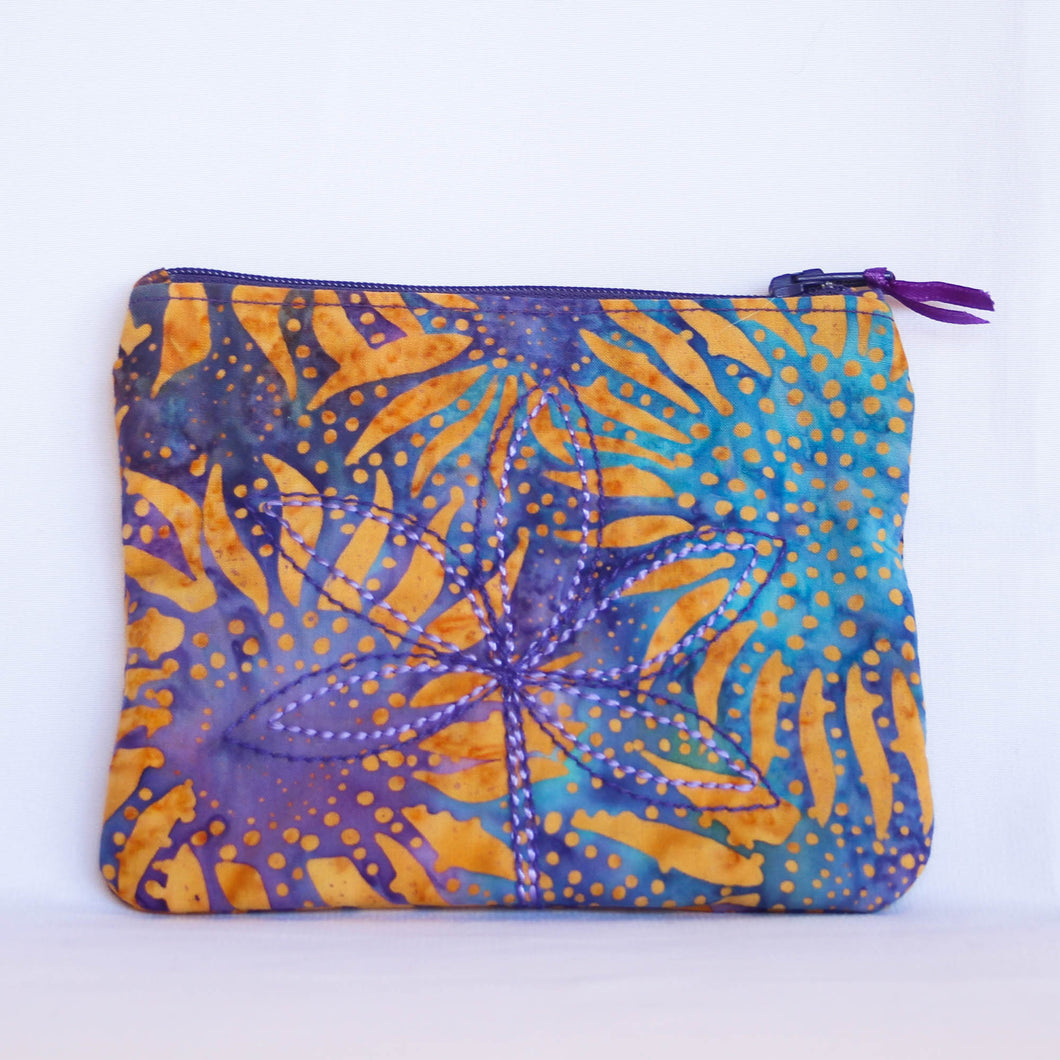 Sunflowers on Purple Batik Coin Purse