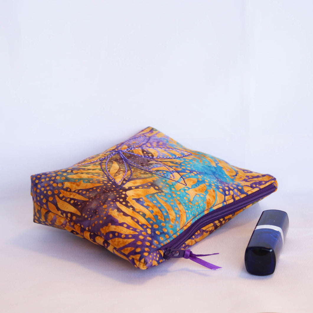 Purple Sunflower Batik Fabric Cosmetic Bag