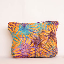Load image into Gallery viewer, Purple Sunflower Batik Fabric Cosmetic Bag