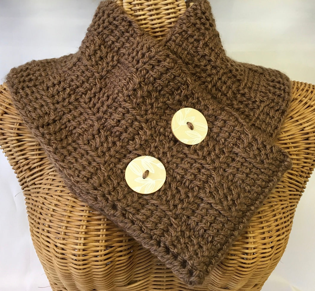 Large Double Brown Tunisian Crocheted Neck Warmer