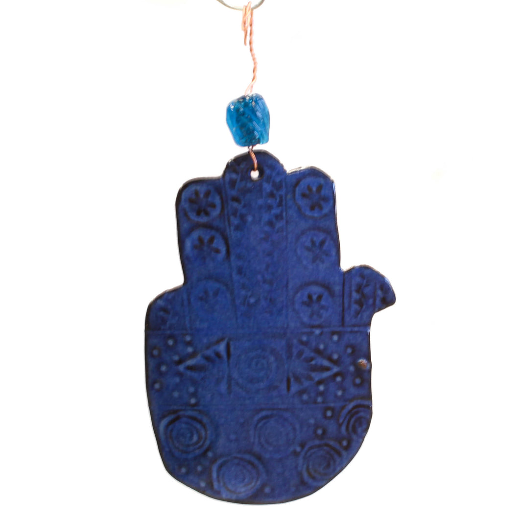 Ceramic Hanging Hamsa with Blue Bead