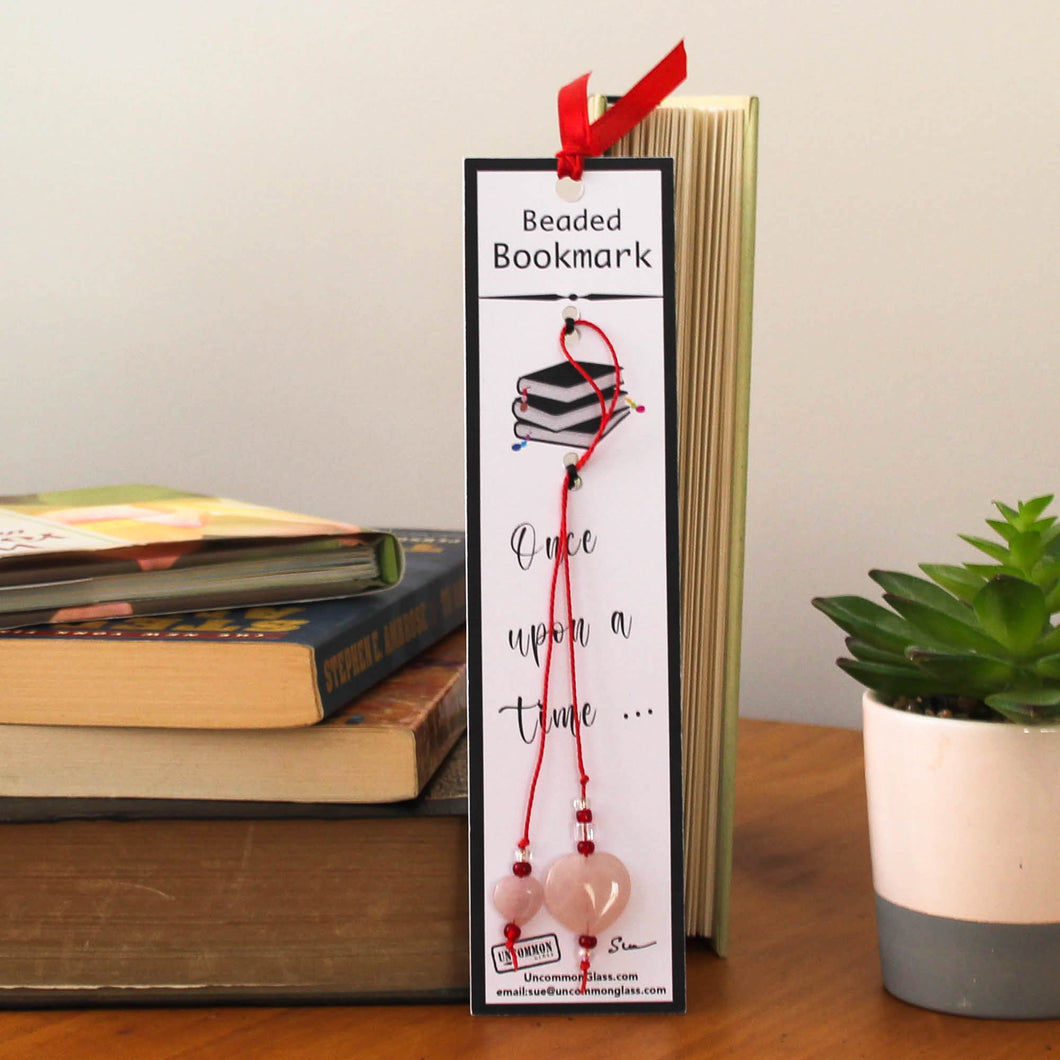 Quartz Heart Beaded Bookmark with Red Cord