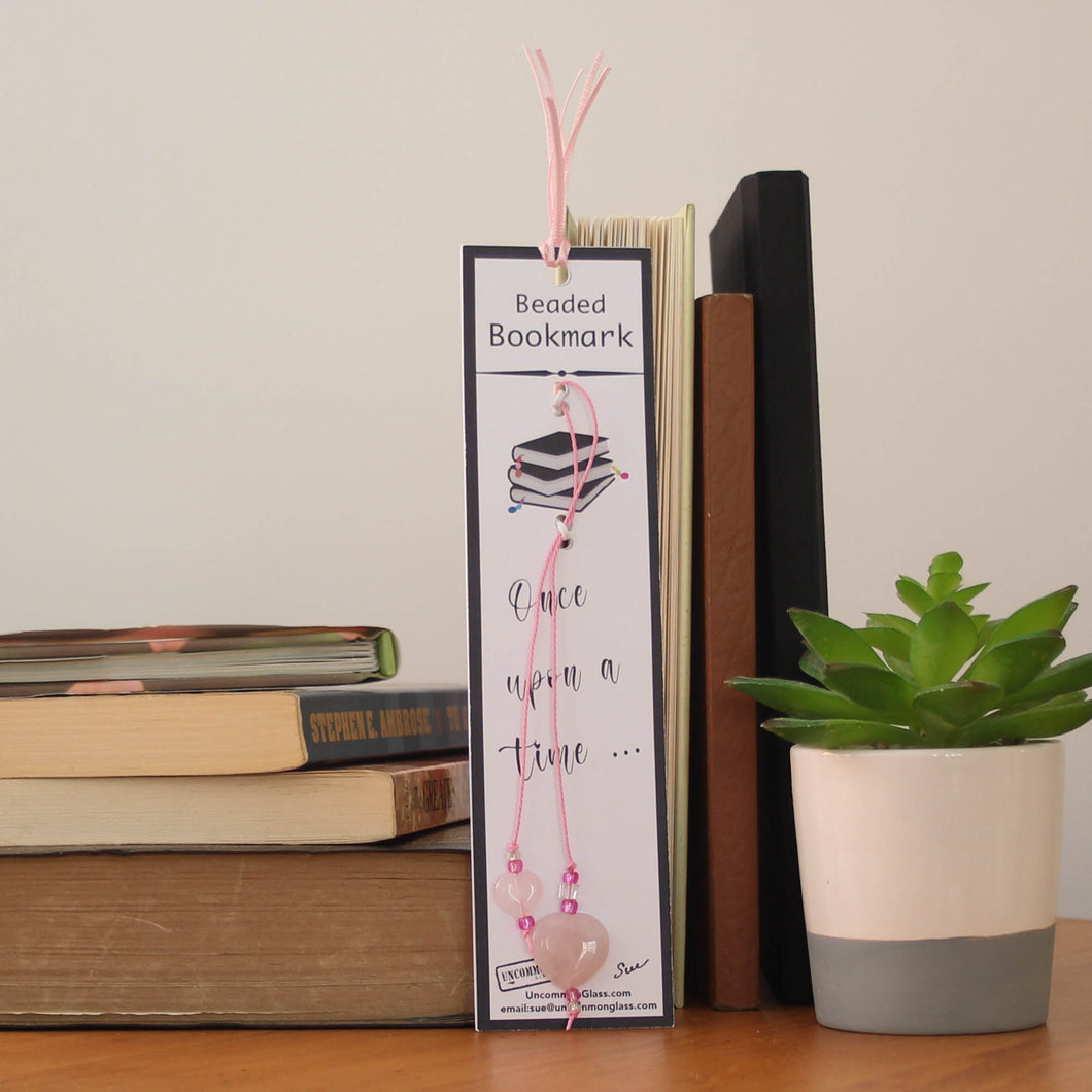 Quartz Heart Beaded Bookmark with Pink Cord
