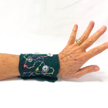 Load image into Gallery viewer, Hand Felted Cuff Bracelet - Mallard Green