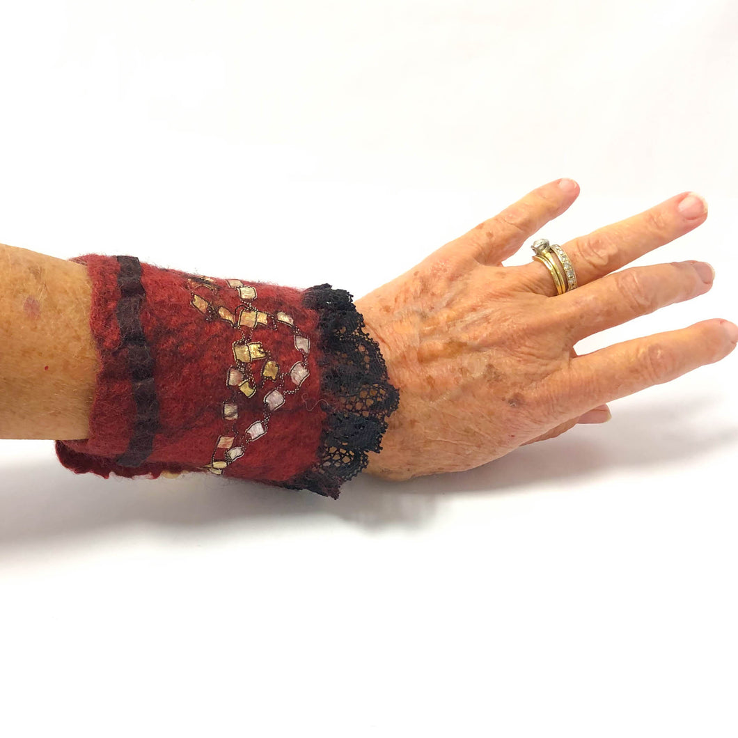 Hand Felted Cuff Bracelet - Loganberry