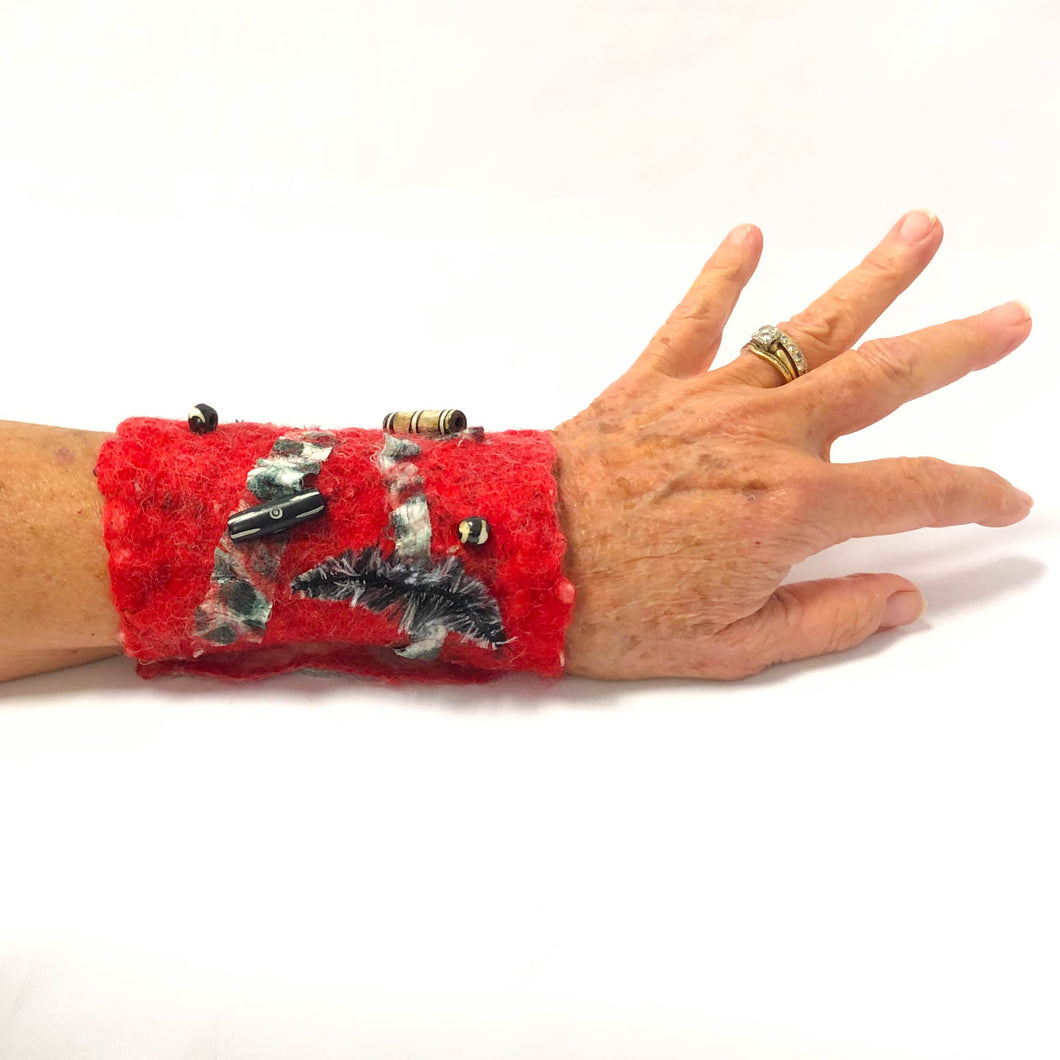 Hand Felted Cuff Bracelet - Red