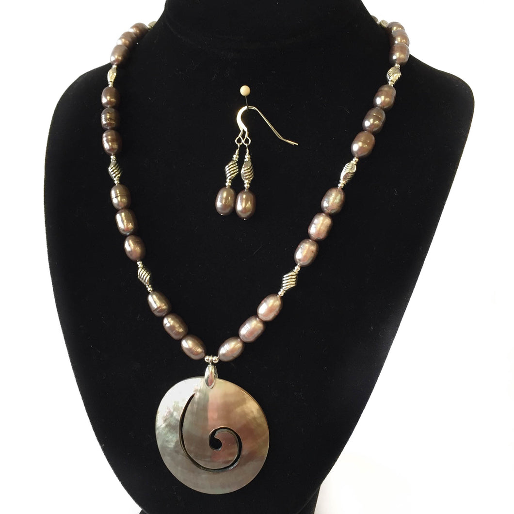Taupe Pearl Necklace and Earring Set