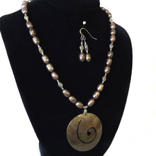 Load image into Gallery viewer, Taupe Pearl Necklace and Earring Set