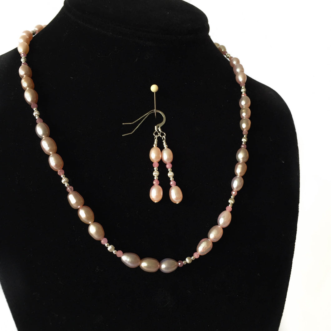 Pink Pearl Necklace and Earring Set