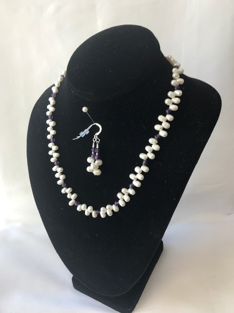 Freshwater Pearl and Amethyst Necklace and Earring Set