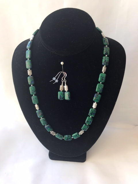 Azurite-Malachite Necklace and Earring Set