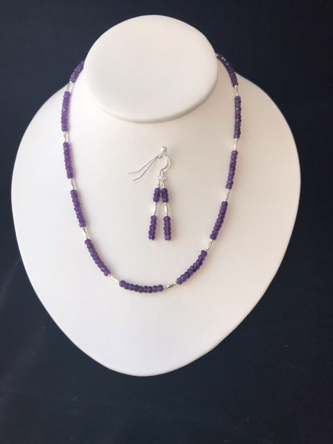 Amethyst and Sterling Silver Necklace and Earring Set