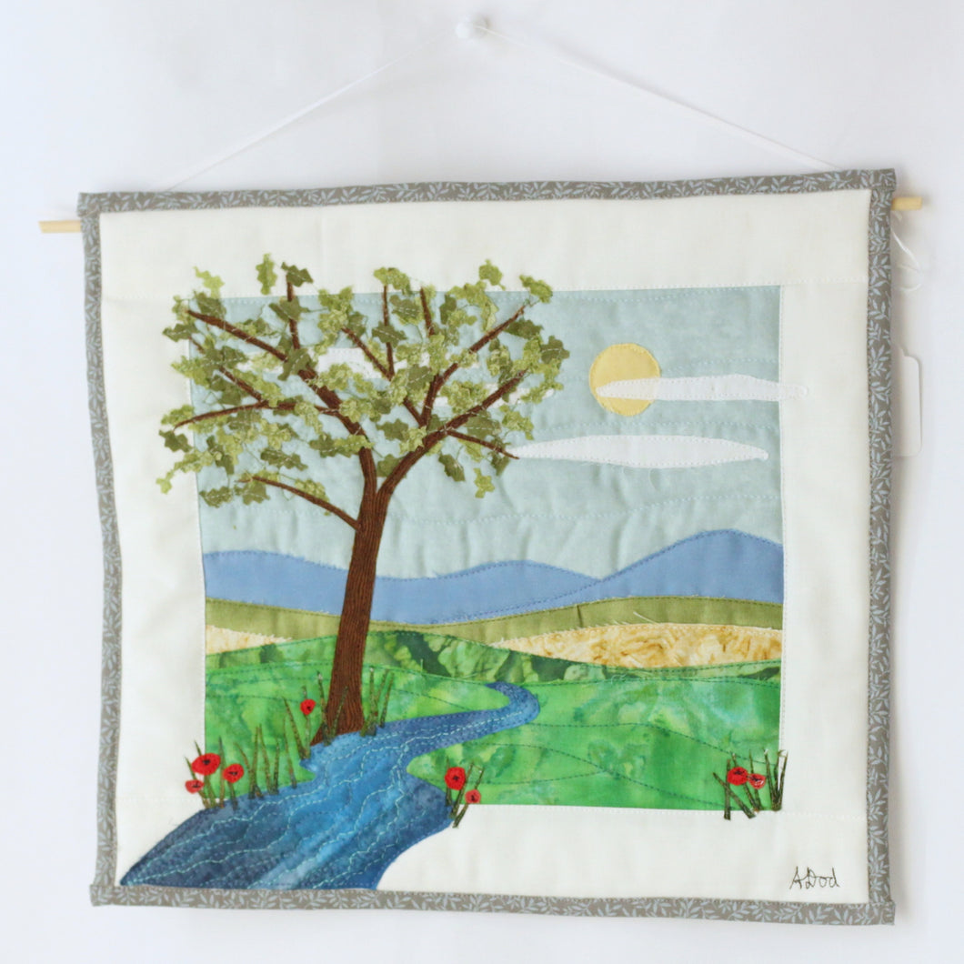 Tree, Mountains, and River with Poppies Art Quilt