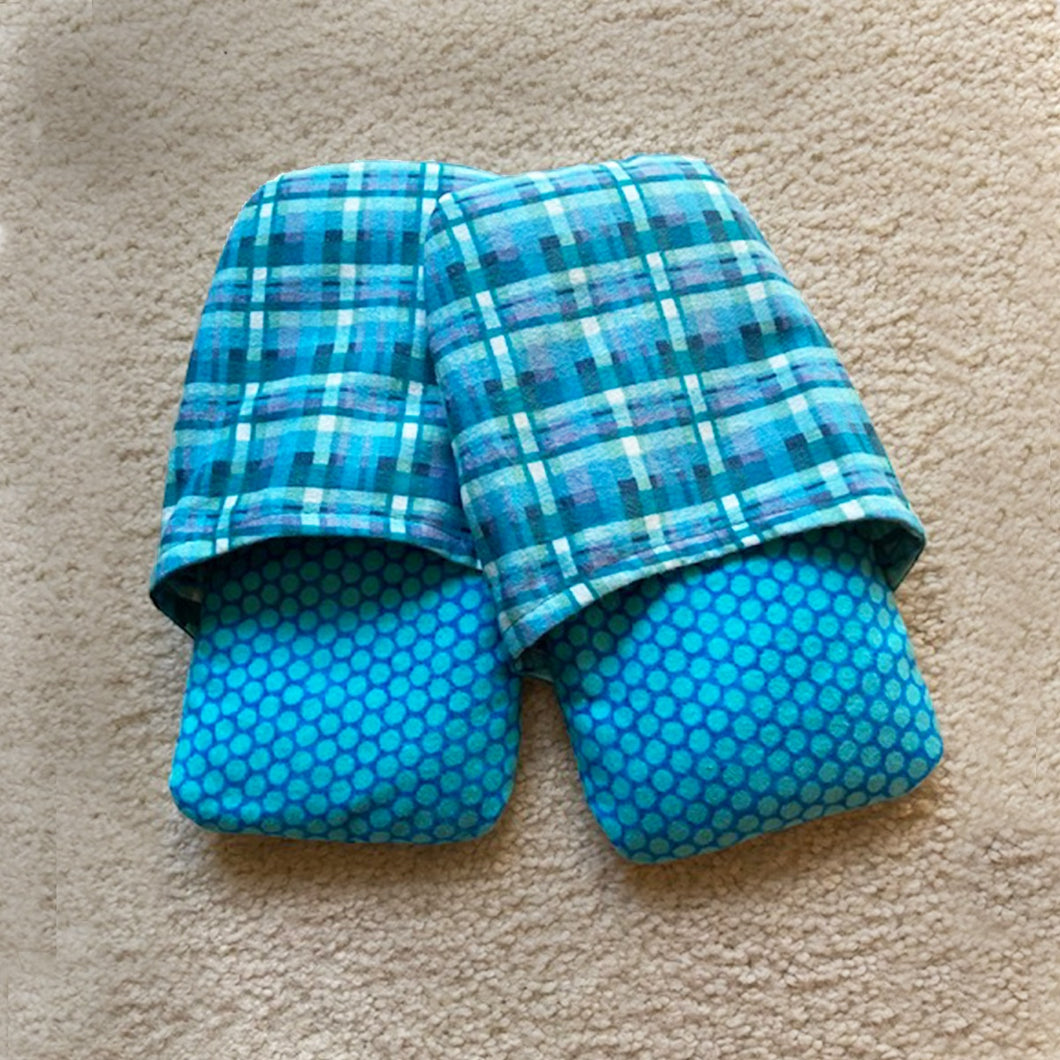 Cozy Footwarmers - Teal Plaid