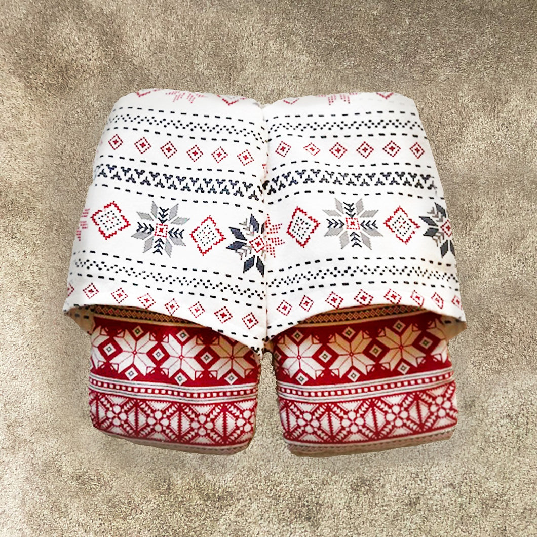 Cozy Footwarmers - Red and White Snowflake