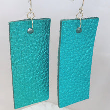 Load image into Gallery viewer, Blue Metallic Rectangular Leather Earrings