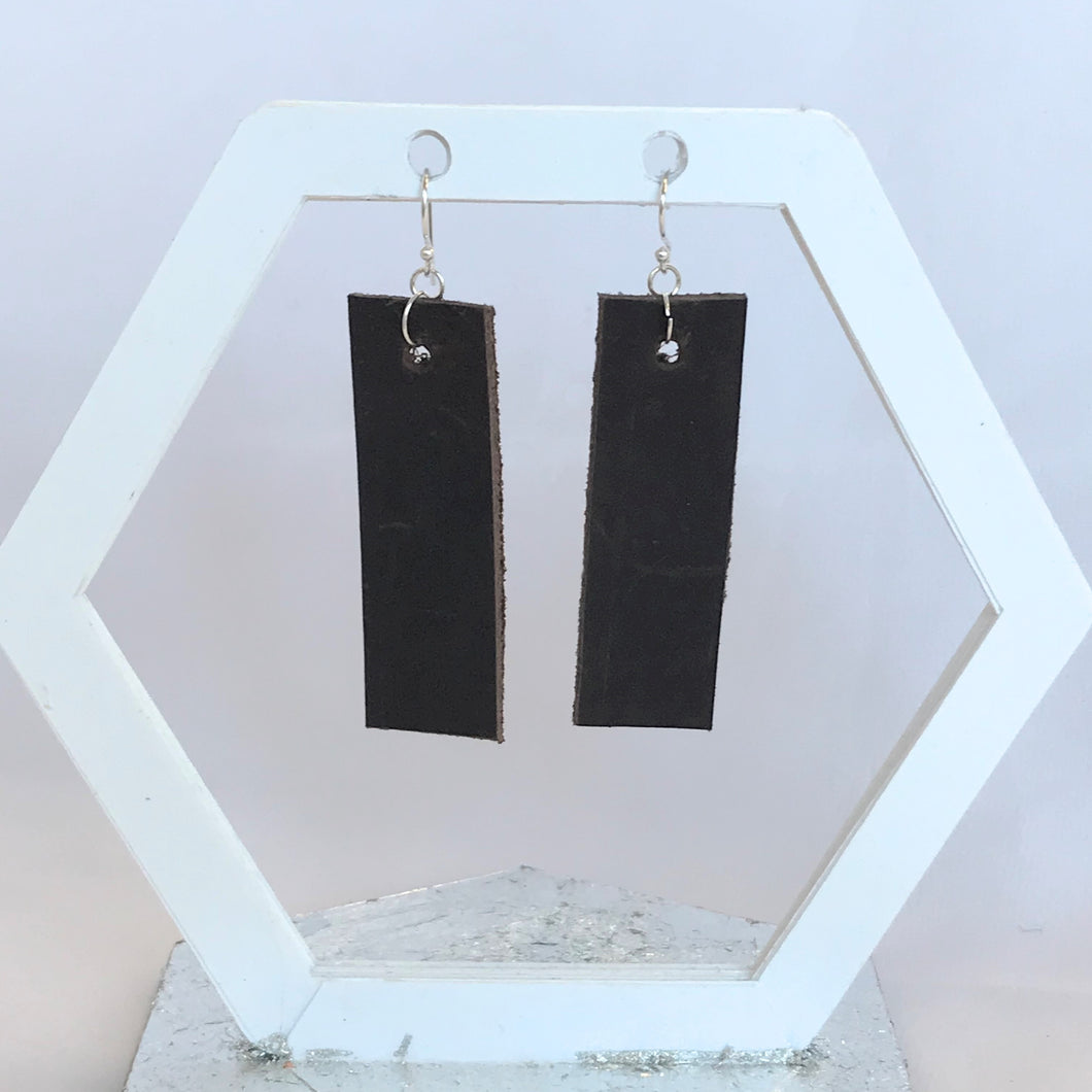 Dark Brown Distressed Rectangular Leather Earrings