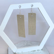 Load image into Gallery viewer, Cream and Silver Linen Texture Rectangular Leather Earrings