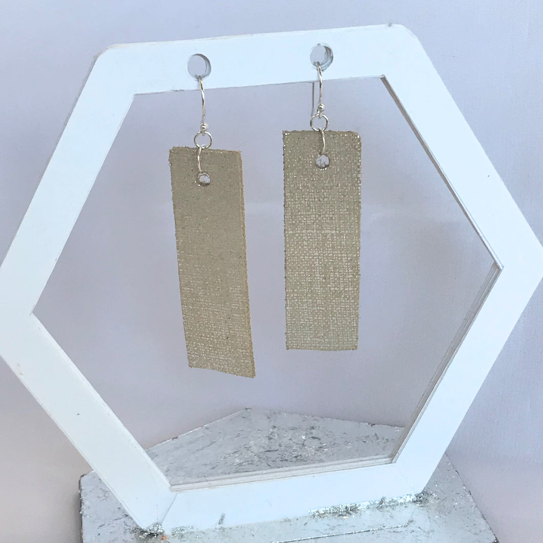 Cream and Silver Linen Texture Rectangular Leather Earrings